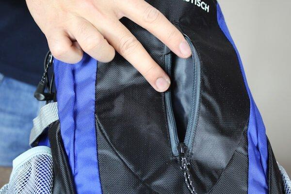 Reißverschlussfach vom Sportastisch Rucksack